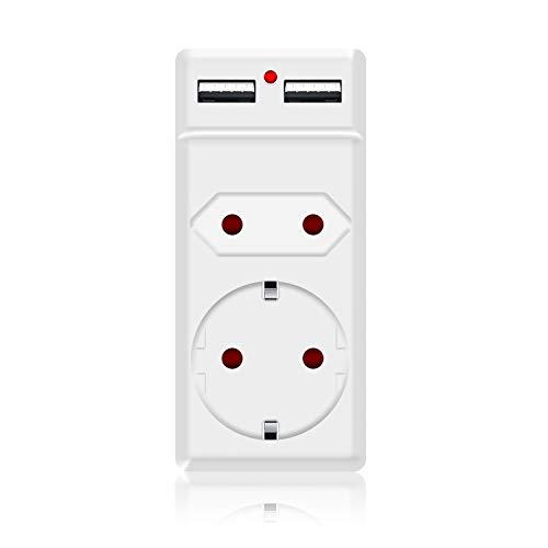 benon 2-Fach Adapter-Stecker 2X USB Weiß - 2in1 Stecker - mit Überlastschutz und Kindersicherung - 2.1A USB (5V), max. 3680W