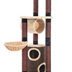 katzeninfo24.de Opixeno Kratzbaum für große und schwere Katzenrassen, Deckenspanner, deckenhoch, braun-beige, 245-260cm hoch, besonders stabil