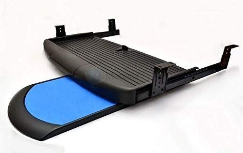 GTV Unter Schreibtisch Computer Tastatur mit mausfach, Regal, ausziehbarer Schublade, komplettes Set, Schwarz