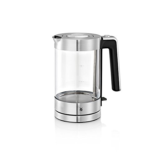 WMF Lono Wasserkocher Glas, 1,7 l, 3000 W, Schott Duran Glas, Kalk-Wasserfilter, cromargan matt/silber