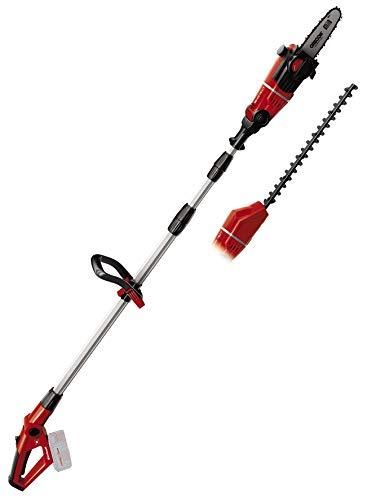 Einhell GE-HC 18 Li T-Solo -Pack con herramienta multifuncional sin cable, motosierra y cortasetos, mango telescópico bloqueable, 18 V, velocidad de corte 3.76 m/s, color rojo (ref. 3410800)