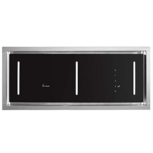 Cappa aspirante a soffitto, modulo ventola (90 cm, acciaio inox, 4 gradini, vetro nero,...