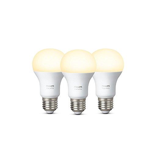 Philips Hue White Lampadine LED, Attacco E27, 9 W, 3 Pezzi