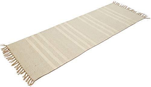 Tappeto in cotone naturale e juta, colore grigio con strisce bianche (gruppi da 3), 70 cm x 200 cm