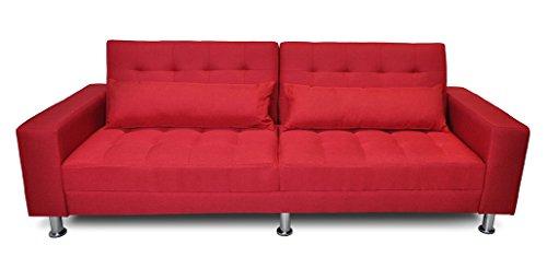 Divano letto in tessuto rosso - divanetto 3 posti mod. Giulia