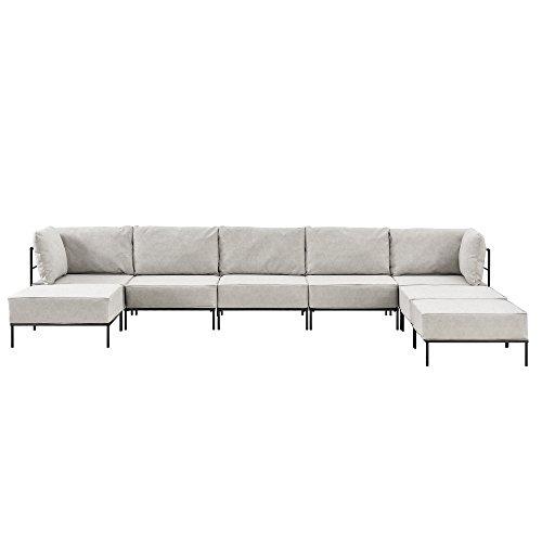 [en.casa] Divano con letto individualmente integrabile - color crema - 6 posti - divano - consiste...