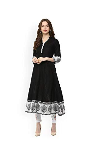 AnjuShree Choice Women Stitched Black Cotton Anarkali Kurti Kurta LARGE