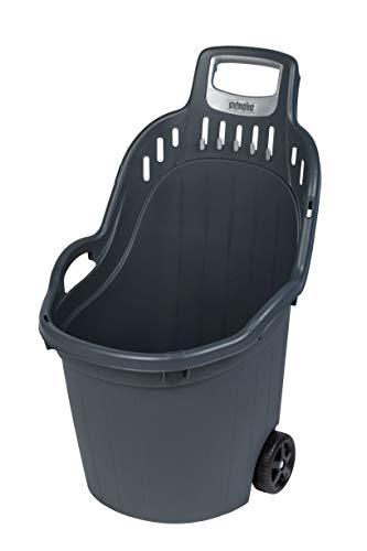 Kreher Gartentrolley HELPY mit 60 Liter Nutzvolumen, belastbar bis max. 65 kg. Räder auf Metallachse, grau