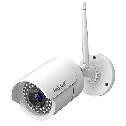 ieGeek Telecamera IP WiFi HD 720P Videocamera di Sorveglianza Telecamera di Sicurezza Videosorveglianza Esterno Impermeabile WLAN Easy Setup, Visione Notturna Fino a 25m, Motion Detect Alert