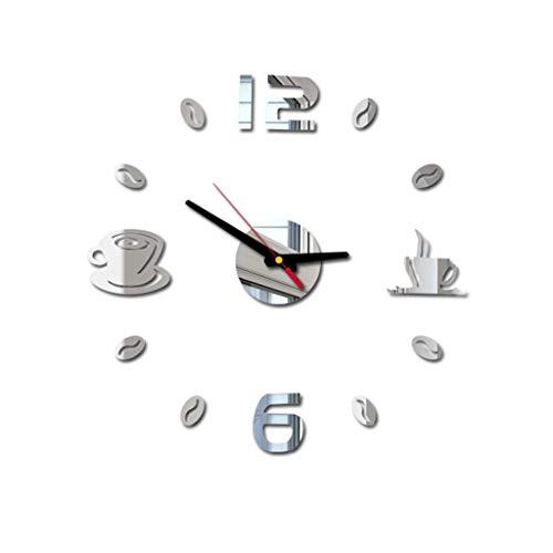 orologio da parete adesivo silenzioso DIY,JIJI886 Preciso Facile da Montare Effetto 3D Riempire Vuoto Parete Moderno Adesivo Orologio Parete Decorazione per Casa, Ufficio, Hotel (Argento)