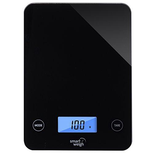 Smart Weigh GLS20 Digital superior de cristal Cocina y Escala del alimento , audibles botones táctiles , Modos de 5 unidades , Liquid Tecnología Medición, Profesional de diseño, Negro