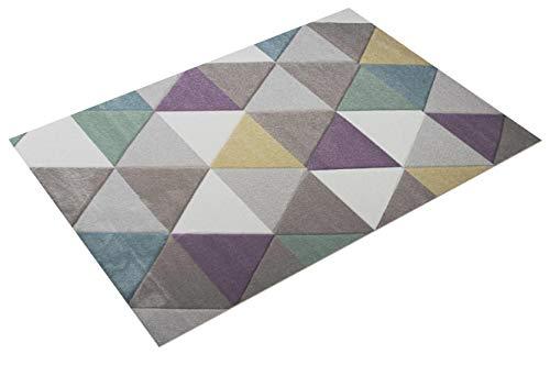 Traum Tappeto Soggiorno in Diamanti Color Turchese Grigio Porpora 120x170 cm