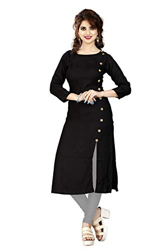 HF HOLYDAY FASHION Girls's Party Wear A-Line Rayon Kurta (Kurta For Women Latest Design Black XXL_Black_XX-Large)