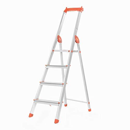 Bathla Elevate 4-Step Foldable Aluminium Ladder with Tool Tray (Orange)