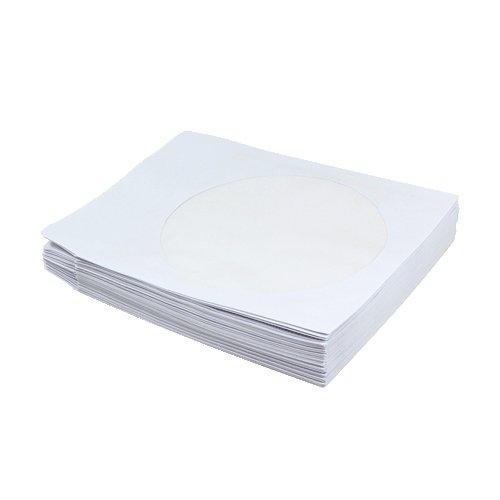 LogiLink NB0057 CD-/DVD-Papiertasche, weiß, mit Sichtfenster