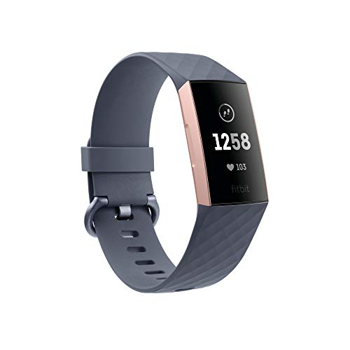 Fitbit Unisex-Adult Charge 3 Der Innovative Gesundheits-und Fitness-Tracker, Blaugrau/Aluminium-Roségold Advanced Health & Fitness, Rose-Gold/Grey, Einheitsgröße