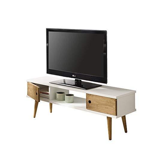 hogar24-mesa Television, Mobile TV Salon motivo vintage, 2ante e mensola, colore: bianco combinato...