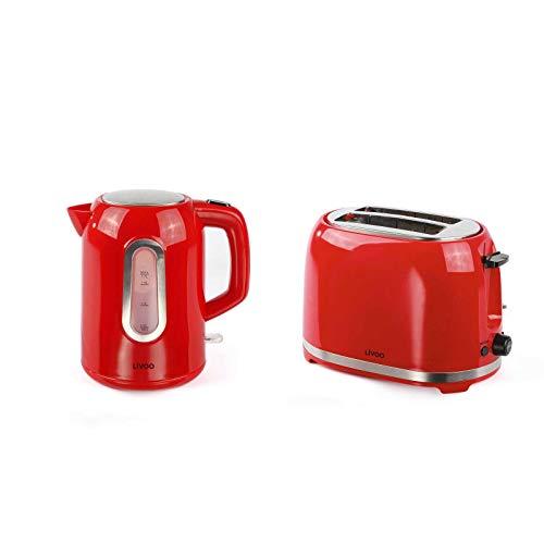 Bollitore senza fili e tostapane rosso set colazione (spegnimento automatico, elemento riscaldante...