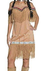 Smiffy'S 36127M Disfraz De Dama Inspirado Por Las Americanas Nativas, Beige Con Vestido Y Fleco, Beige, M - Eu Tamaño 40-42