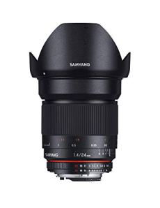 Samyang F1110806101 - Objetivo fotográfico DSLR para Sony E (distancia focal fija 24mm, apertura f/1.4-22 ED AS IF UMC, diámetro filtro: 77mm), negro