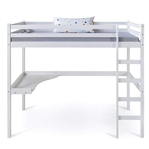Homestyle4u 1899, Kinder Hochbett mit Schreibtisch, Kinderbett 90x200 cm Weiß, Holz Kiefer