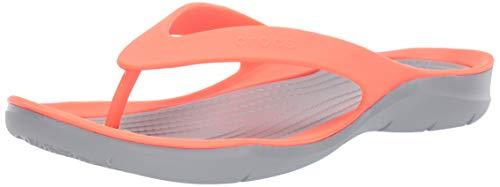 Crocs Swiftwater Flip W, Infradito Donna, Multicolore (Bright Coral/Light G 000), 38/39 EU