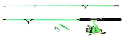 Fladen pesca-'My Deadly' 1.95m 2pezzi canna da pesca e mulinello con linea, spinner e cucchiaio (verde o rosa)-ideale spinning e uso generico starter set di introduzione, Green