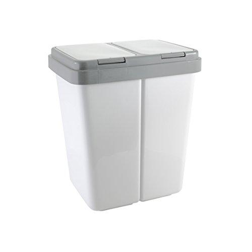 Ribelli Zweimer Duo Müllbehälter mit Deckel Kunststoff Mülleimer für die Küche geruchsdichter Abfalleimer Mülltrennsystem 2 x ca. 30 Liter - Farbe: Grau