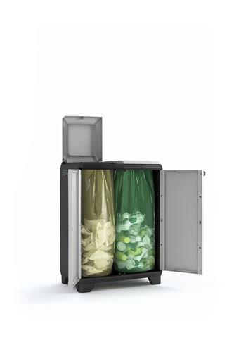 Keter 9735000 Split Cabinet Recycling Premium, Grigio, 68x39x92 cm