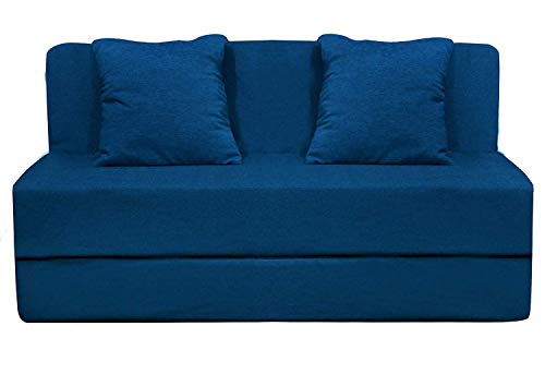 Aart Store Sofa Cum Bed Furniture 3X6 Feet for Living Room and Home with 2 Cushion Perfect for Guests Blue Color