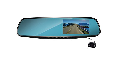 Coby DCHDM-306 Rearview Mirror Dash Cam 1080P Dual Camera Front & Backup with DVR