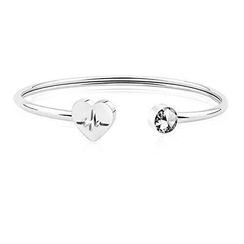 Hamkaw Heartbeat Adjustable Cuff Silver Stethoscope Bracelet Bangle for Women