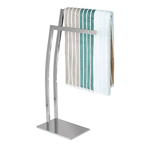 Relaxdays – Toallero de pie con 2 barras hecho de acero inoxidable con medidas 80 x 32 x 20 cm base cuadrada accesorio decorativo, color plateado