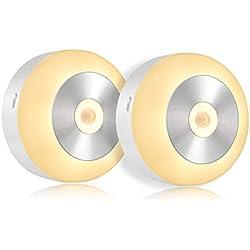Fitfirst Luz Nocturna Lámpara de Sensor de Movimiento con 3 Modos de Luz de Noche, Encendido/Apagado Automático, Luz de Seguridad para Pasillo, Baño, Dormitorio, Cocina, Gabinete - 2 pcs