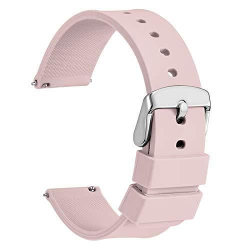 WOCCI 14mm Cinturino Orologio in Silicone, Sgancio Rapido Ricambio (Rosa chiaro)