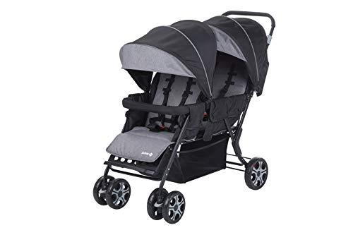 Safety 1st Geschwisterwagen Teamy, wendiger Zwillingswagen, stabiles Metallgestell mit geringem Gewicht, verstellbare Rückenlehnen, kompaktes Faltmaß, nutzbar ab der Geburt bis 3,5 Jahre, black chic