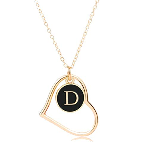 The Dance Bible Hollow Heart Alphabet Letter D Pendant in Gold and Black for Men and Women