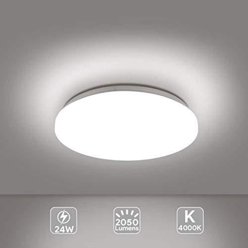 Plafoniera LED Lampada a Soffitto 4000K Warm White 24W 2050 Lumens Ø33cm, EISFEU Plafoniera LED per cucina, bagno, camera da letto, corridoio, cantina, ufficio