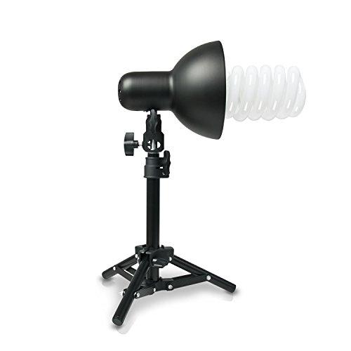 Hochwertige HAUSER & PICARD 200 Watt Foto-Lampe 1x Foto-ESL + 1x Tisch-Foto-Stativ | Foto-Licht / Foto-Beleuchtung inklusive 1x Schnellstart-Tageslichtlampe (5500 K) mit 200 Watt Äquivalenzleistung und 1x Tisch-Foto-Stativ