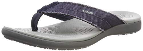 Crocs Santa Cruz Canvas Flip M, Scarpe da Spiaggia e Piscina Uomo, Multicolore (Navy/Light Grey...