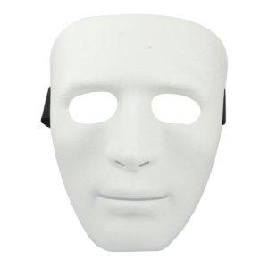 Man Adjustable Black Elastic Band Full Face Plastic Halloween Party Mask White (máscara/careta)