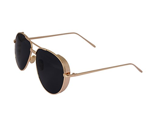SD Jaxson | Stylish Metal Aviator Sunglasses For Men | Gold Black | UV Protection | Non Polarized | Large Size | Formal, Party, Beach, Driving Goggles Unisex | Mirrored Reflective Lens