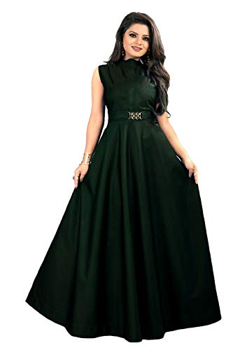 vaidehi creation Women's Twill Tafeta Anarkali Style Gown for Girl (Green)