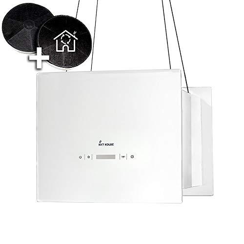 Cappa aspirante ad isola (40 cm, acciaio inox, vetro bianco, extra silenzioso, 4 gradini,...
