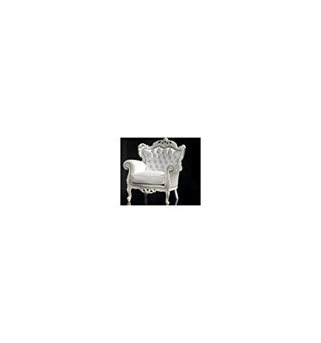 La Seggiola Poltrona King of Night Art. 422/7 poltrona, foglia argento - ecopelle opaca bianca