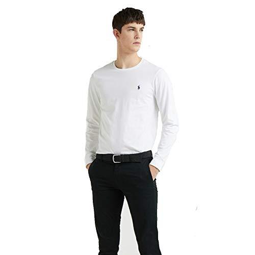 Ralph Lauren Camiseta de Manga Larga para Hombre Custom Fit (L, Blanco)