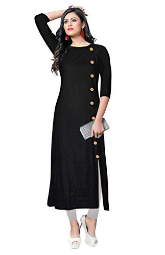 VISVA DESIGNER Girls's Regular Rayon Kurta (Kurtis Latest Black XL_Black_X-Large)