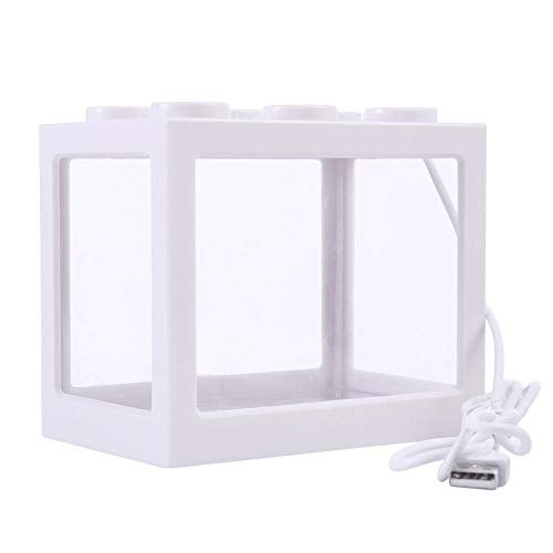 AUOKER Mini Cube USB Desk Plastic Fish Tank with LED Light for Betta Goldfish and Small Fishes