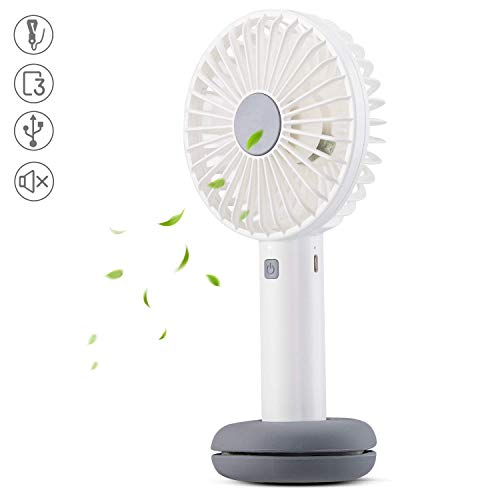 AGPTEK Ventilatore Portatile a Mano USB Ricaricabile Palmare Fan Luce Corolata Tre Livelli di Vento...