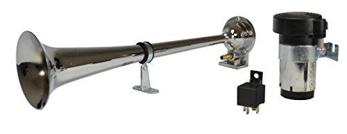 HELLA 013410001 Chrome 12V Air 1-Trumpet Horn Kit (12V,115 dB @ 2m)
